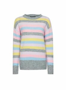 Womens Rainbow Pastel Stripe Print Jumper- Multi Colour, Multi Colour