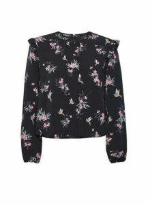 Womens Billie & Blossom Black Floral And Bird Print Top, Black
