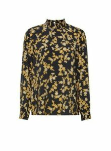 Womens **Vila Black And Yellow Floral Print Blouse- Multi Colour, Multi Colour