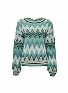 Womens **Vila Green Knit Jumper With Wave Pattern, Green