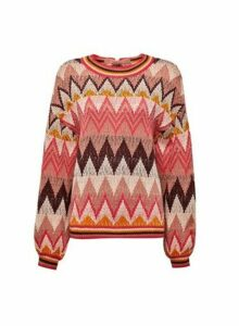 Womens **Vila Pink Knit Jumper With Wave Pattern, Pink