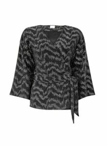 Womens **Vila Black Sparkle Wrap Belted Cardigan, Black