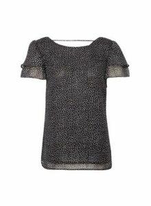 Womens Black Spot Print Double Ruffle T-Shirt, Black