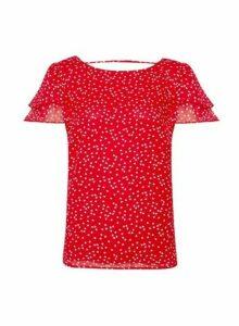 Womens Red Heart Print Double Ruffle T-Shirt, Red