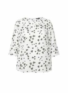 Womens Billie & Blossom Curve White Heart Print Crepe Top, White