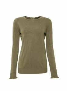 Womens Khaki Bow Back Soft Jumper, Khaki