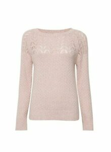 Womens Pink Stitch Yoke Jumper, Pink