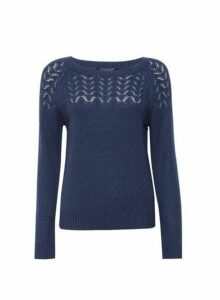 Womens Navy Stitch Yoke Jumper - Blue, Blue