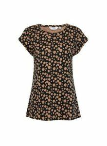 Womens Dp Tall Organic Cotton Black Jersey T-Shirt, Black
