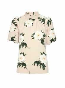 Womens Multi Colour Floral Print Neck Top- White, White