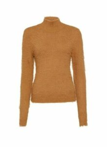 Womens **Vila Brown High Neck Jumper, Brown
