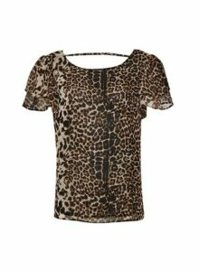 Womens Multi Colour Animal Print Ruffle T-Shirt, Animal
