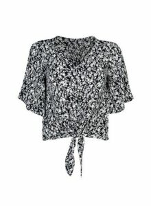 Womens Dp Petite Black Ditsy Print Top, Black