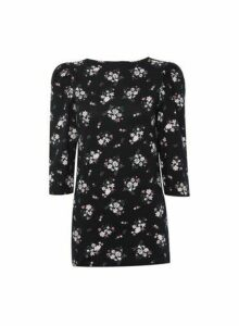 Womens Dp Tall Black And Pink Floral Print Top - Fl Multi, Fl Multi