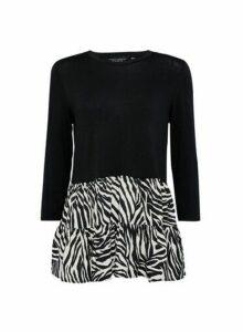 Womens Black Zebra Print Frill Hem Top, Black