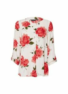 Womens Pink Rose Print 2 Button Roll Sleeve Top, Pink