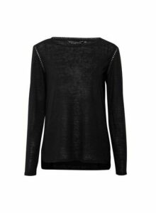Womens Black Ladder Trim Long Sleeve Top, Black