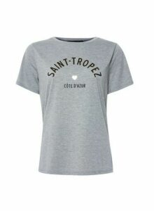 Womens Grey Saint Tropez Foil Logo T-Shirt, Grey
