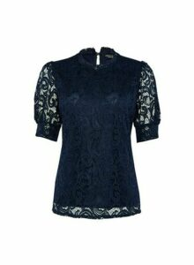 Womens Navy Puff Sleeve Lace T-Shirt- Blue, Blue