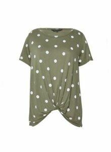 Womens Khaki Spot Print Twist Front T-Shirt, Khaki