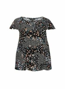 Womens **Billie & Blossom Curve Blush Pink Butterfly Print Top- Black, Black