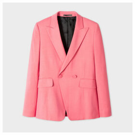Women's Pink Wool-Blend Tuxedo Double-Breasted Blazer