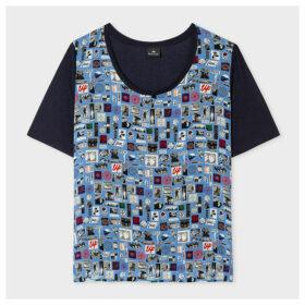 Women's Navy 'Summer Chills' Print Silk-Blend T-Shirt