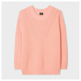 Women's Peach Chunky Rib-Knit Cotton-Blend Sweater