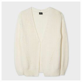 Women's Cream Rib-Knit Cotton-Blend Cardigan