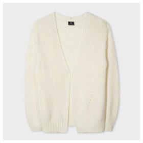 Women's Cream Rib-Knit Cotton-Blend Cardigan