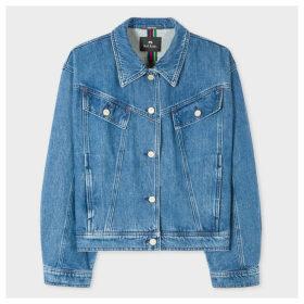 Women's Blue Crop Denim Jacket