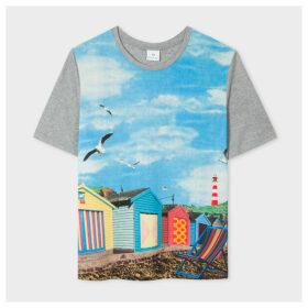 Women's 'Beach Huts' Print Modal-Blend T-Shirt