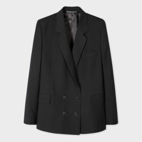 A Suit To Travel In - Women's Black Wool Double-Breasted Blazer
