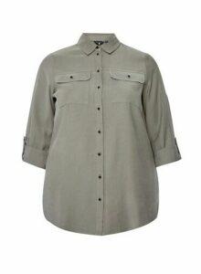 Womens Dp Curve Khaki Utility Shirt, Khaki