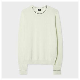 Women's Light Green Stripe Detail Organic-Cotton Sweater