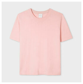 Women's Light Pink Short-Sleeve Cotton Sweater