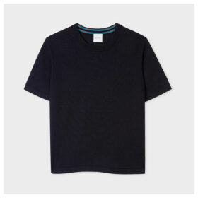Women's Dark Navy Short-Sleeve Cotton Sweater