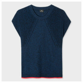 Women's Navy Knitted Cotton Top With Red Trims