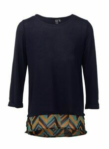 Womens *Izabel London Navy Aztec Print Layered Top, Navy