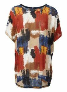 Womens Izabel London Multi Colour Brushstroke Print T-Shirt - Beige, Beige
