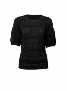 Womens Black Pointelle Puff T-Shirt, Black