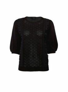 Womens Black Lace Front T-Shirt, Black