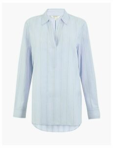 Per Una Pure Cotton Striped Popover Blouse