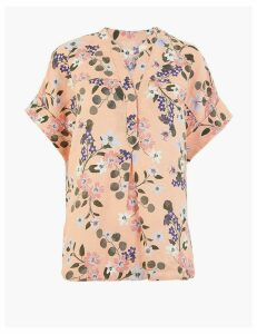 M&S Collection Pure Linen Floral Print Popover Blouse