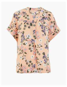 M&S Collection Pure Linen Floral Print Popover Blouse