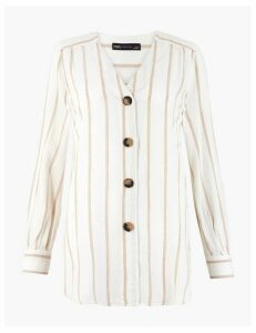 M&S Collection Linen Rich Striped Longline Blouse