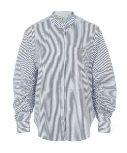 Gathered Sleeve Striped Cotton Shirt