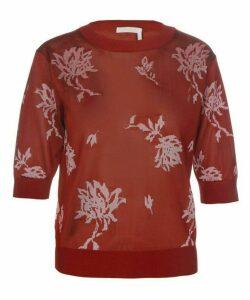 Jacquard-Knit Floral Print Top