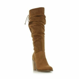 Head Over Heels Tammarra Ruched Lace Knee Boots