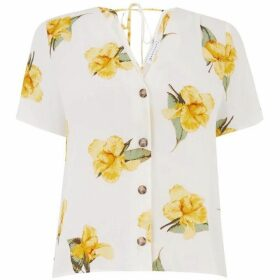 Warehouse Katy Floral Button Front Top